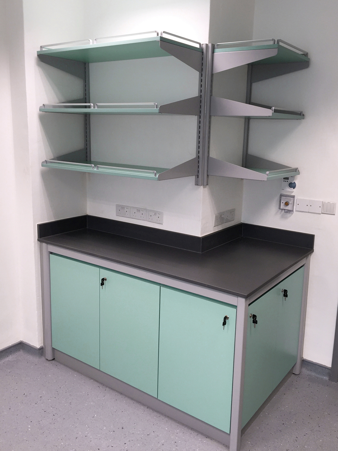 Black Epoxy lab table with cabinets